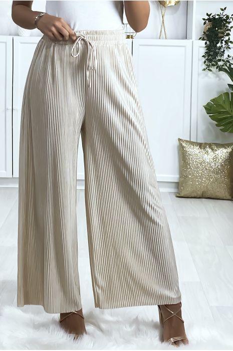 Pantalon palazzo plissé en beige
