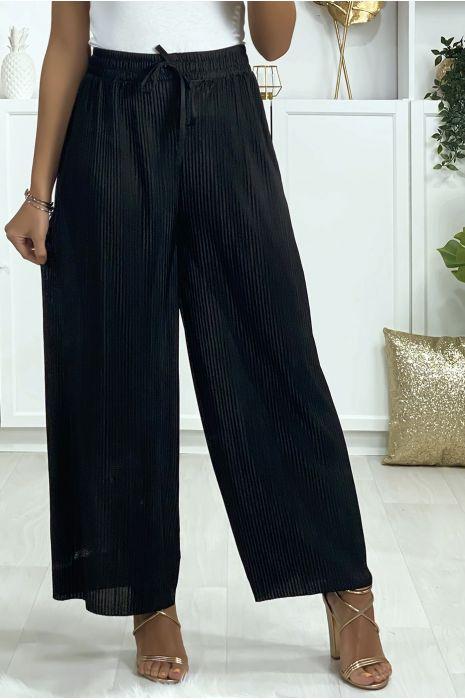 Pantalon palazzo plissé en noir