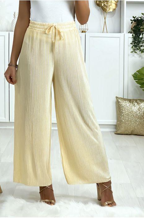 Pantalon palazzo plissé en jaune