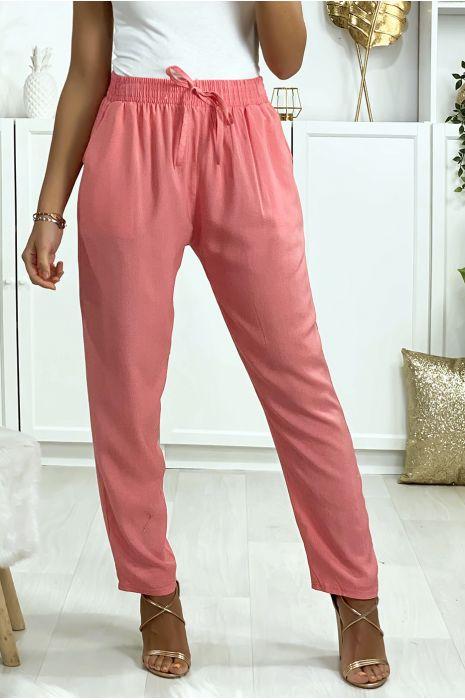 Pantalon rose en coton avec poches