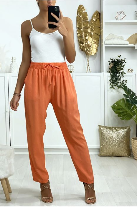 Pantalon saumon en coton avec poches