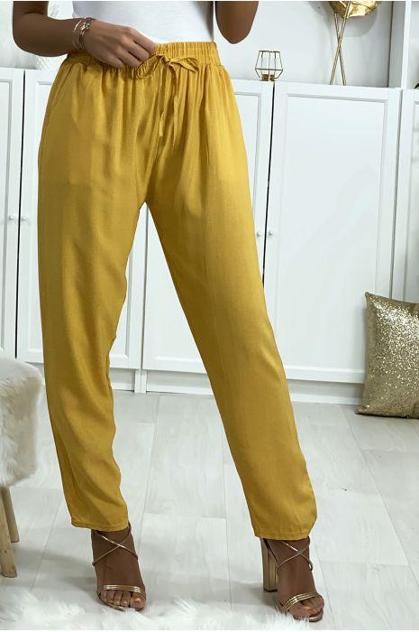 Pantalon moutarde en coton avec poches