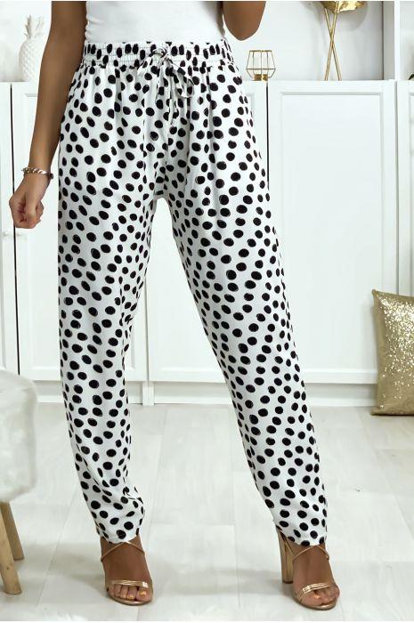 Pantalon blanc à pois en coton avec poches. Mode femme
