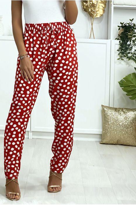 Pantalon rouge à pois en coton avec poches. Mode femme