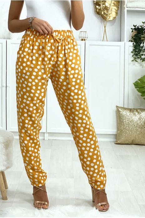 Pantalon moutarde à pois en coton avec poches. Mode femme