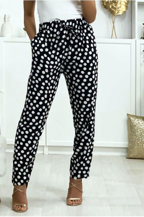 Pantalon noir à pois en coton avec poches. Mode femme