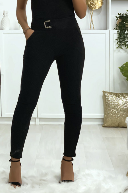 Black slim pants with pockets and belt buckle