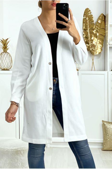 Wit vest met knoopjes, zakjes en design op de achterzijde