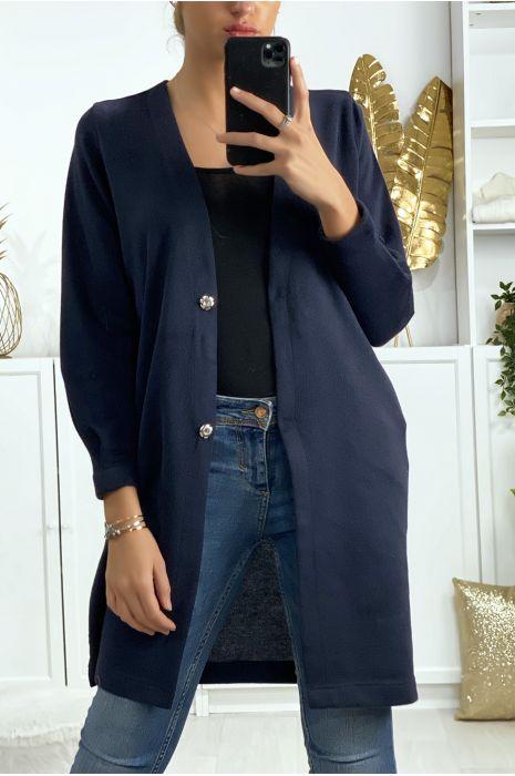 Marineblauw vest met knopen, zakken en design op de achterkant