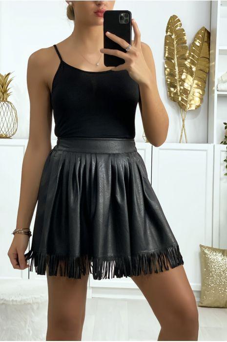 Jupe noir en simili plissé à l'avant avec poches