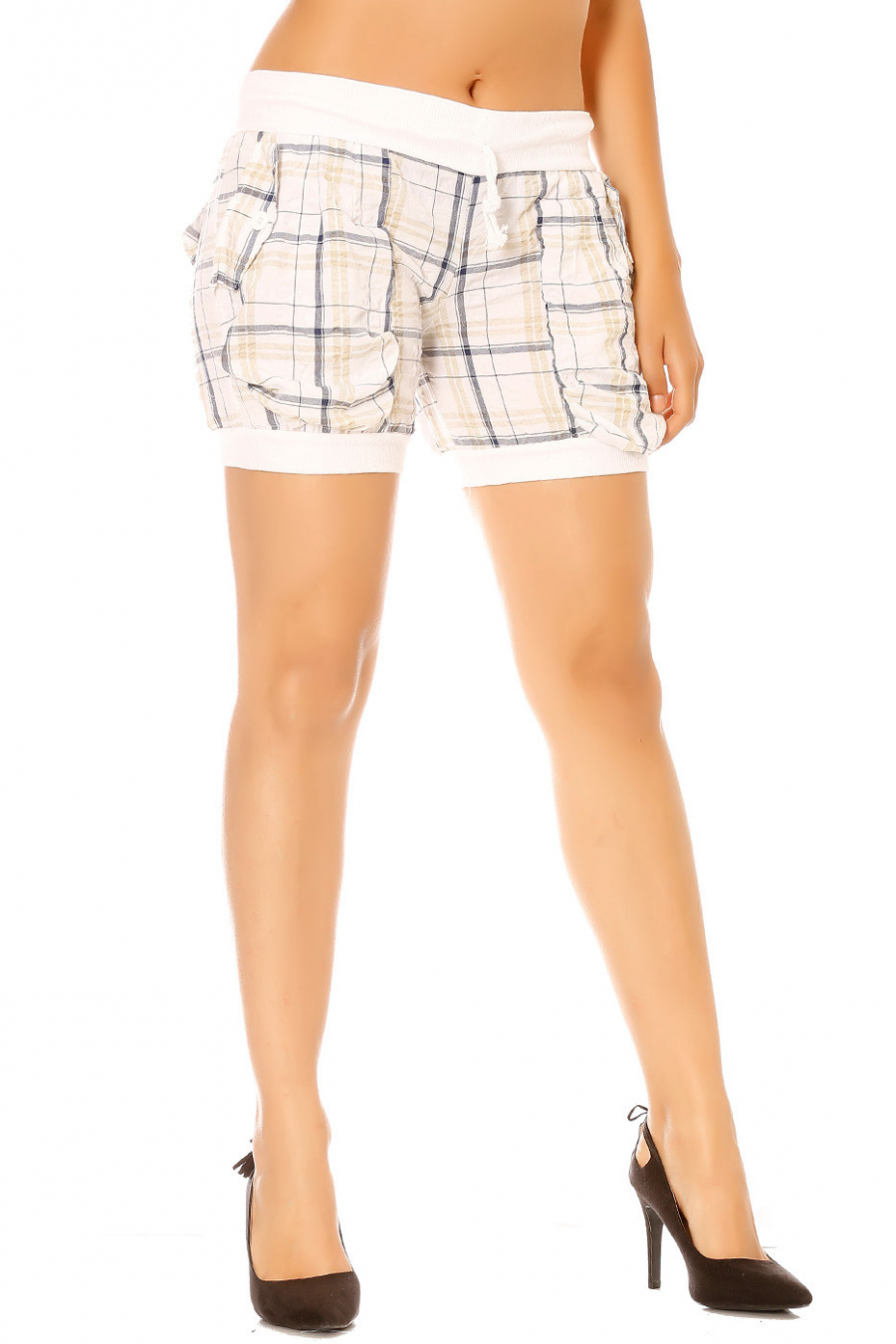 White checkered shorts with back and front pockets.