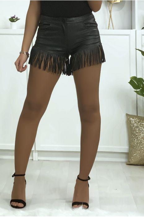 Joli short noir en simili avec poches et frange