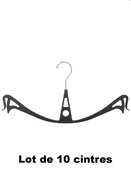 10 zwarte plastic hangers ideaal voor rokjes en broeken