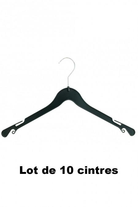 10 zwarte plastic hangers ideaal voor shirt, T-shirt en jurk