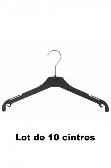 10 cintres plastique noir idéal pour Veste, gilet et blazer