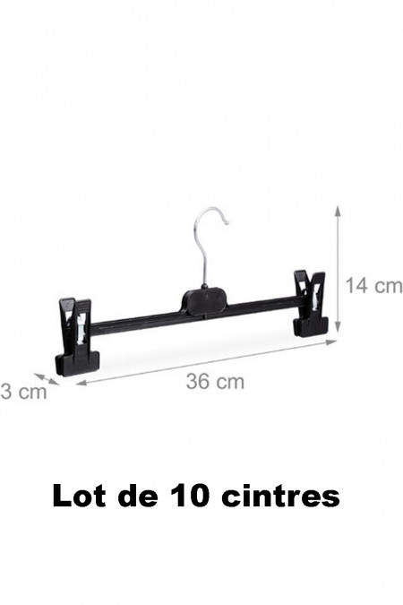 10 black plastic clip hangers ideal for jeans, pants and skirts