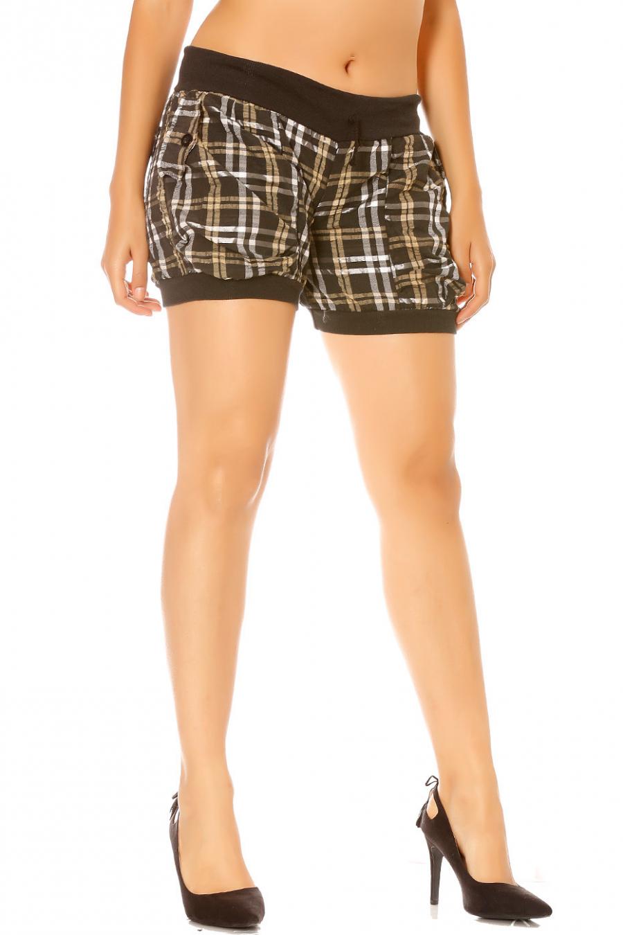 Short à carreaux noir avec poches dos et devant.