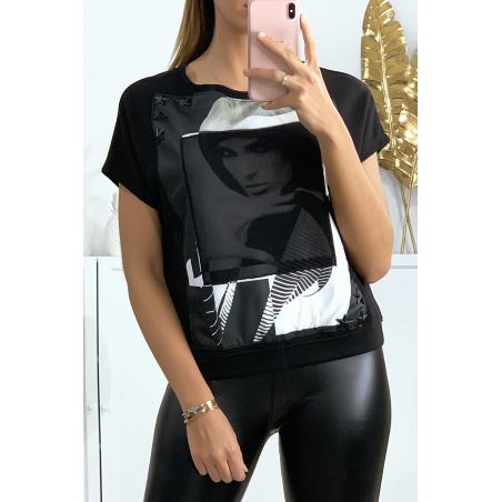 Tee-shirt noir motif Kim avec strass étoile et voile sur le visage