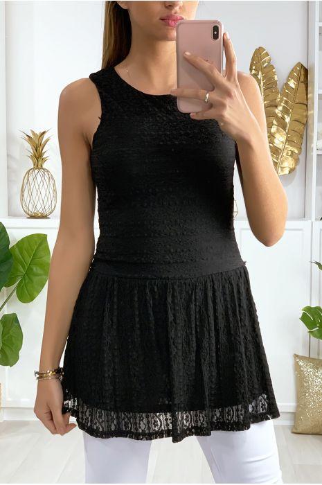Robe tunique en dentelle noir avec fermeture au dos