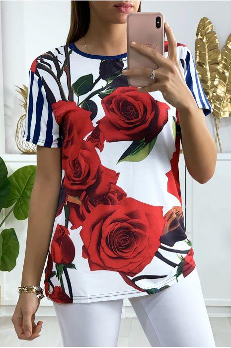 Tunique rayé marinière blanc et marine avec motif fleur