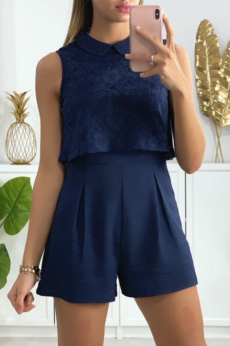 2 in 1 navy playsuit with lace on the bust