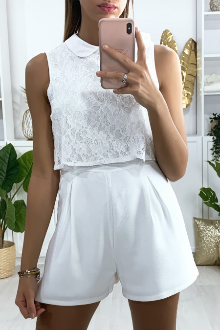 2 in 1 white playsuit with lace at the bust