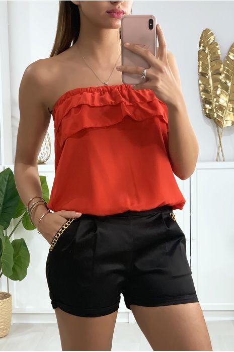 Combi-short rouge et noir avec volant au buste et accessoire aux poches