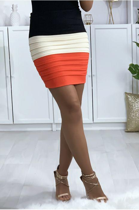 Mini jupe tricolore noire, beige et orange