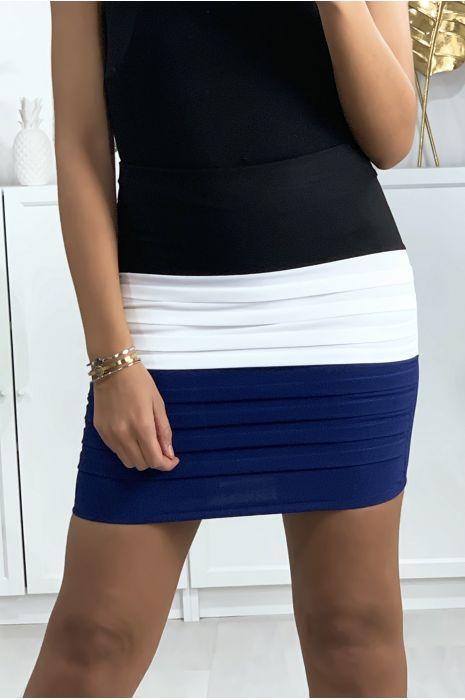 Mini jupe tricolore noire, blanche et bleu