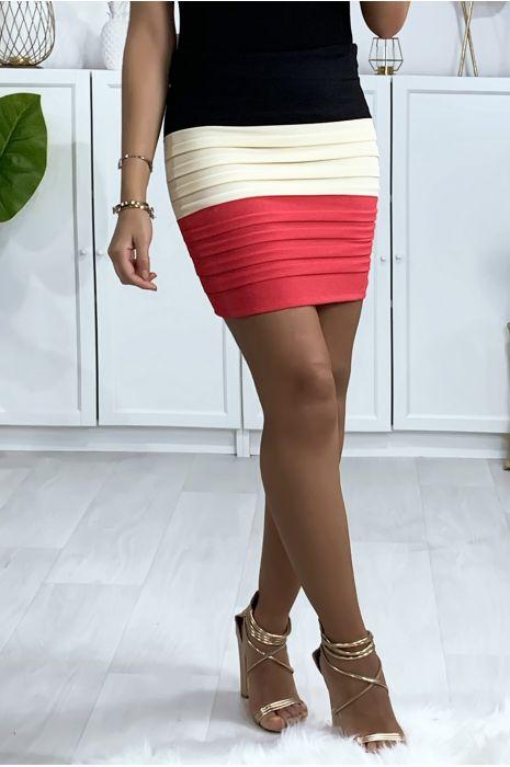 Mini jupe tricolore noire, beige et rose