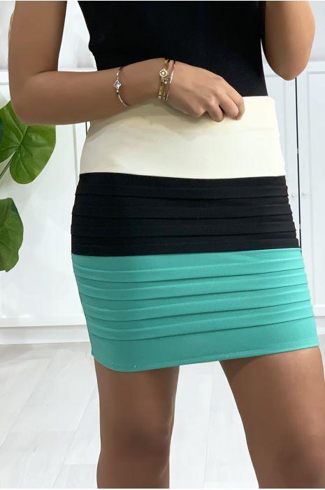 Mini jupe tricolore noire, beige et verte