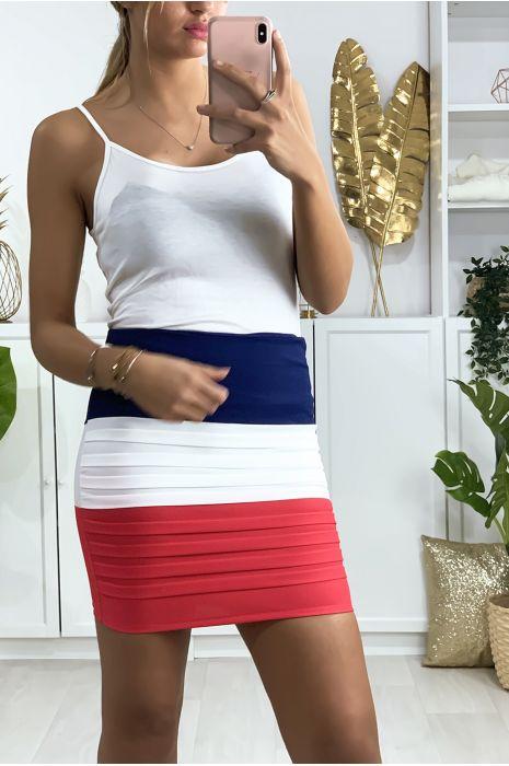 Mini jupe tricolore bleu, blanche et rose