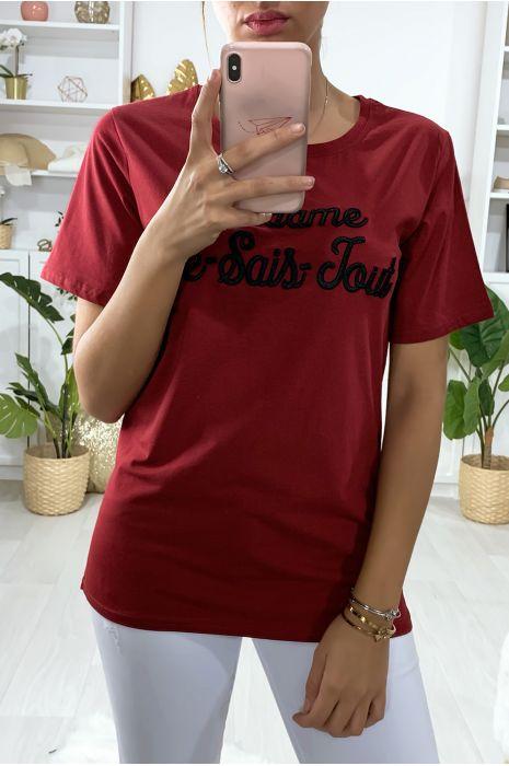 Tee-shirt long rouge en coton avec écriture Madame Je-Sais-Tout