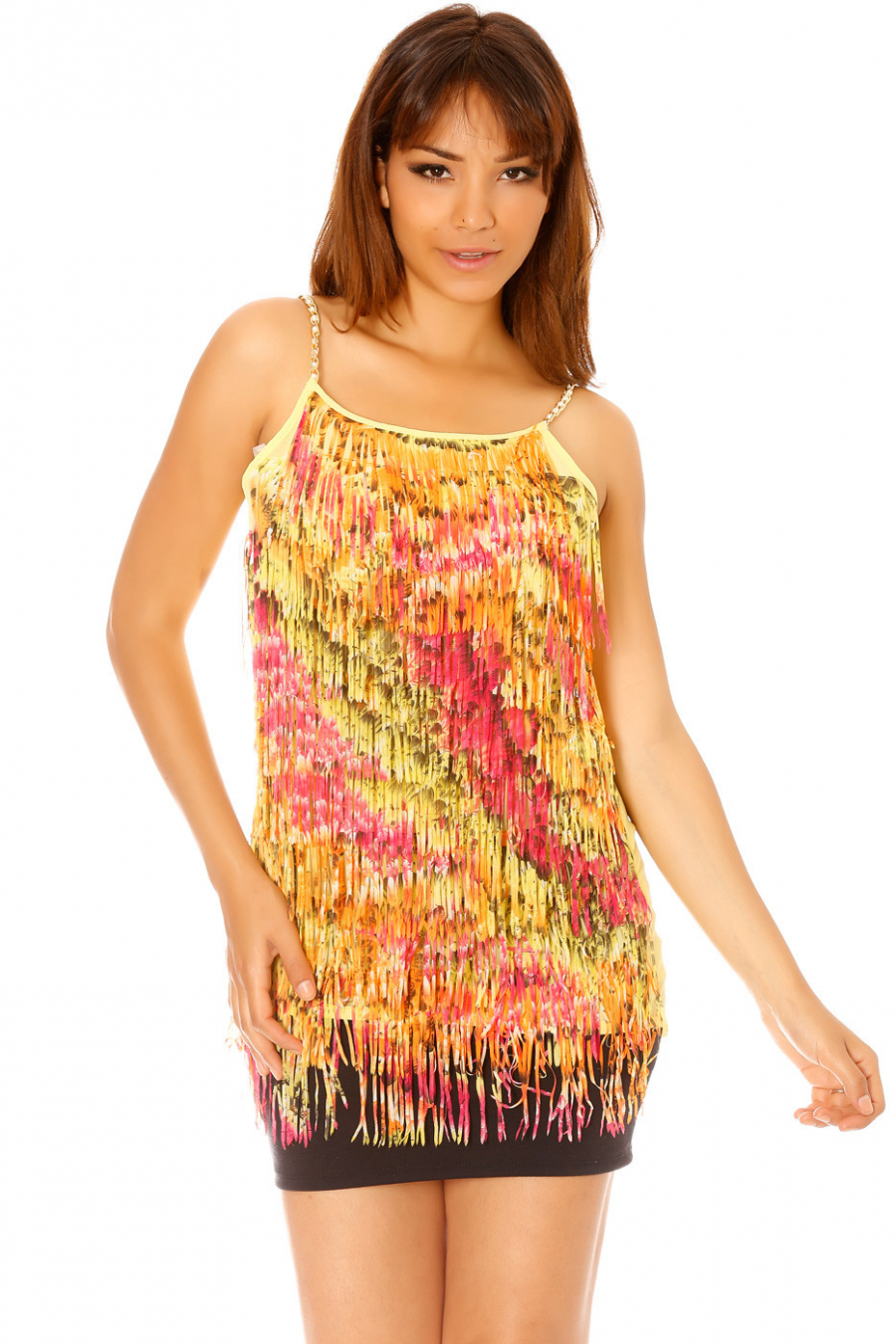 Yellow dress style charleston with multi-colored fringes ML1189