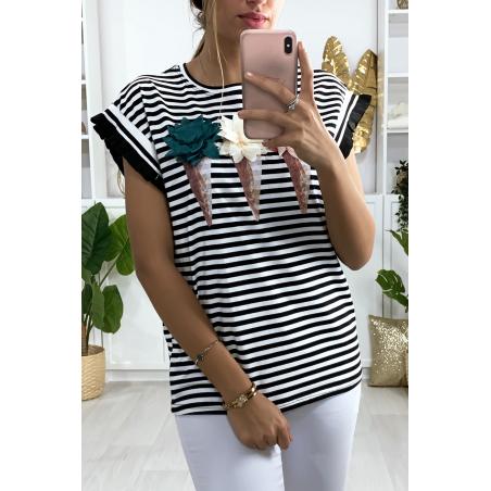 T-shirt marinière noir et blanc avec motif glace