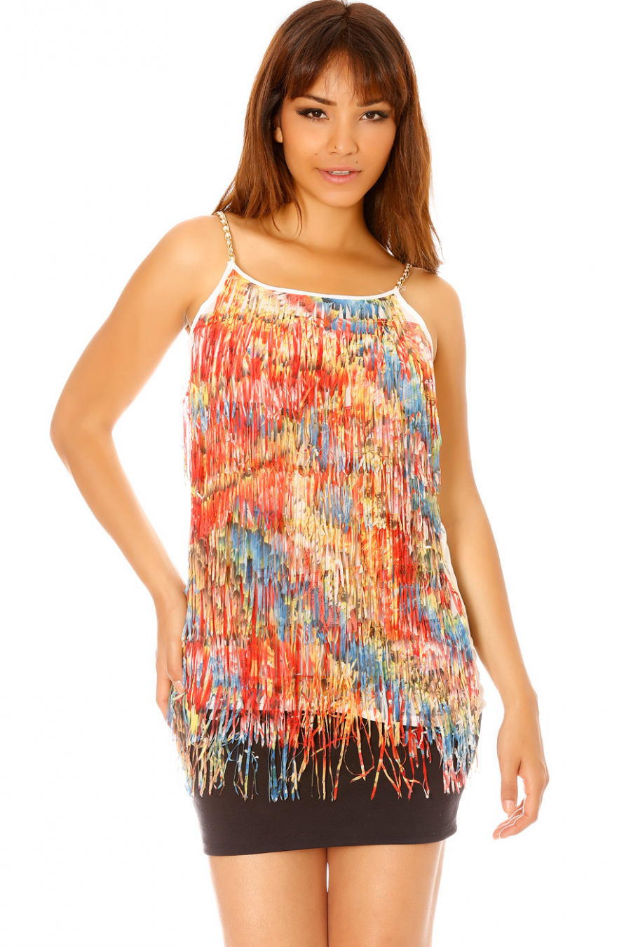 White Charleston style dress with multicolored fringes ML1189