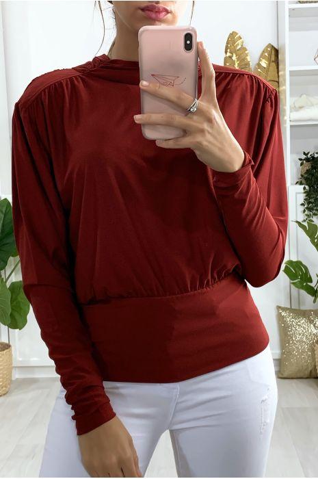 Bordeauxrood gerimpelde blouse met strik op de rug