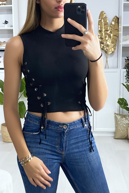 Black crop top with lace on the sides