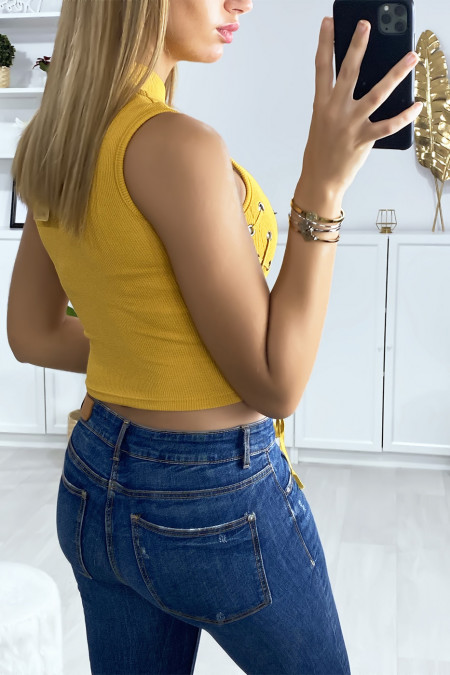 Mustard crop top with lace on the sides