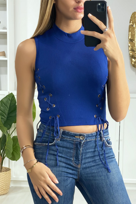 Royal crop top with lace on the sides