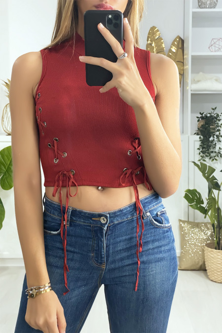 Red crop top with lace on the sides