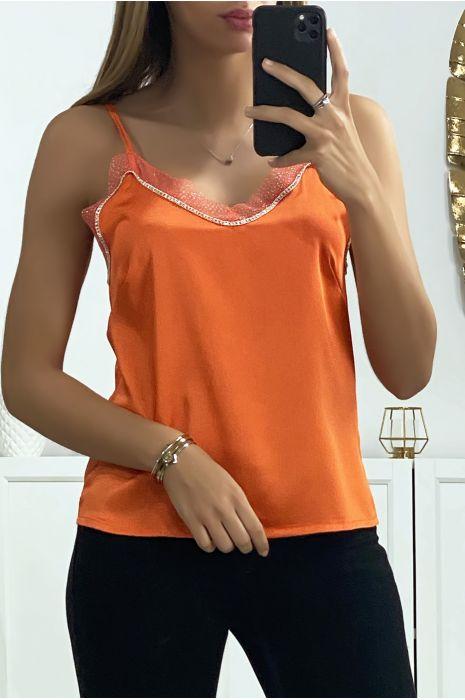 Débardeur satiné en orange avec dentelle et strass au contour