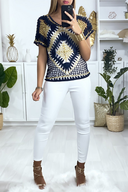Navy and gold embroidered style top