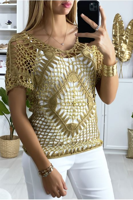 Haut camel et doré style brodé