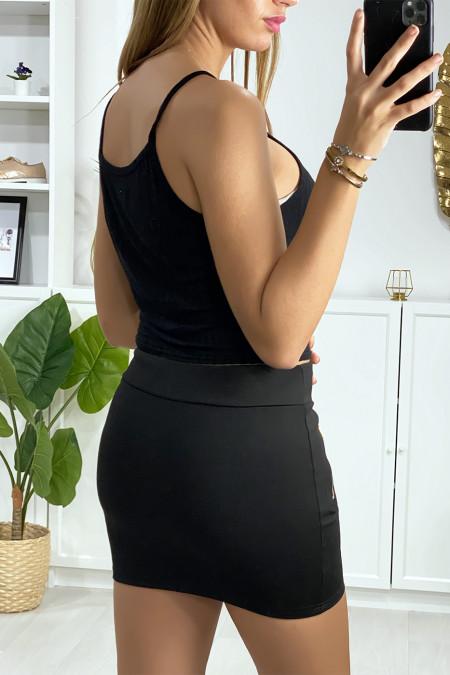 Black mini skirt with gold zip