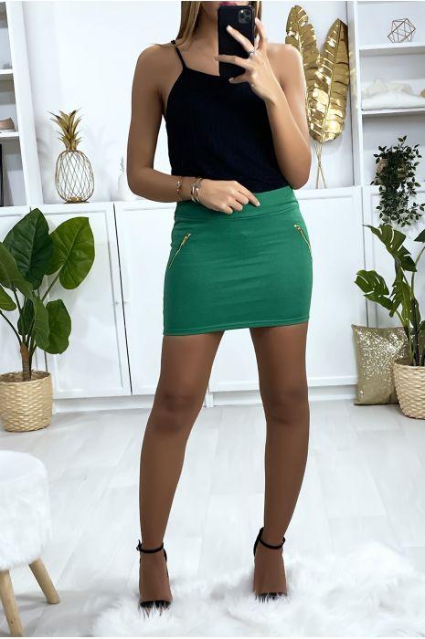 Mini jupe verte avec zip doré