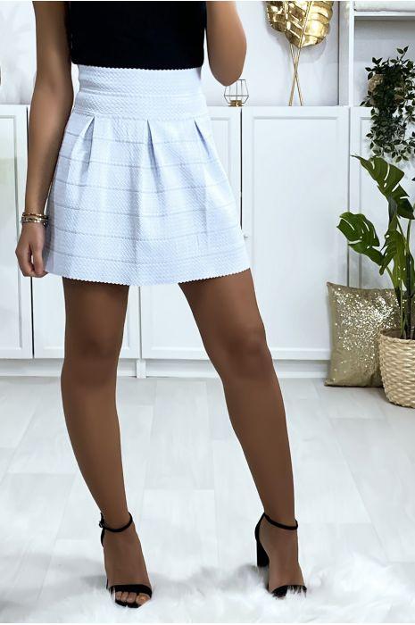 Mini jupe bleu ciel évasé avec cinq plis et fermeture au dos