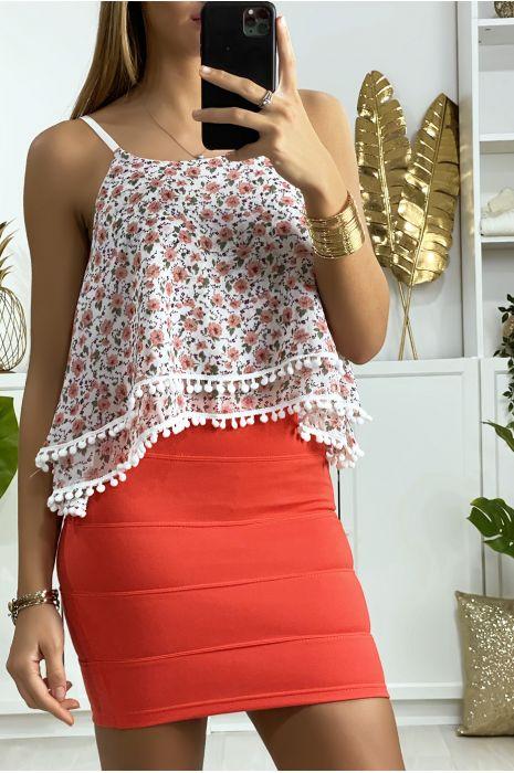 Mini jupe fuchsia à bande avec fermeture au dos
