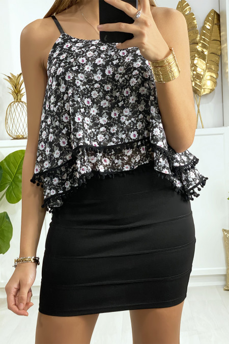 Mini jupe noir à bande avec fermeture au dos