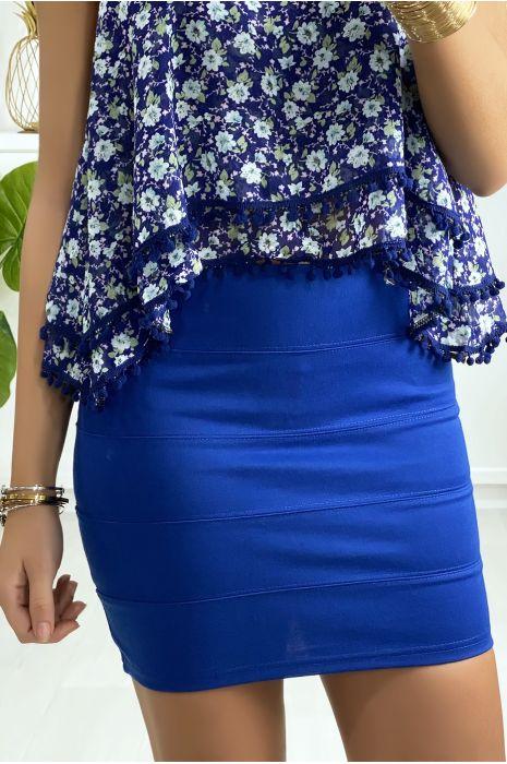Mini jupe royal à bande avec fermeture au dos